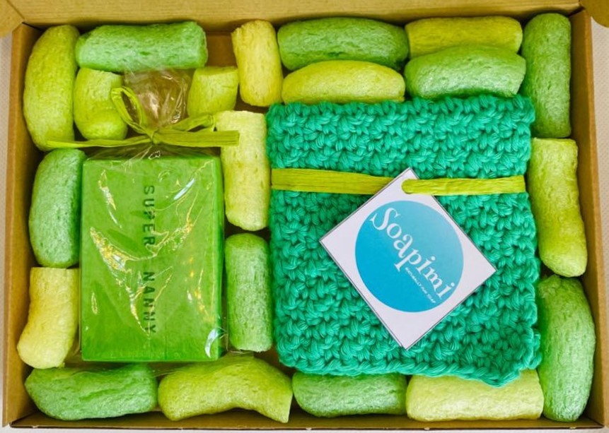 Soap with packing peanuts in a box
